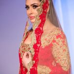 Asian Wedding Experience Catwalk | Bride in gold and red lace asian lengha